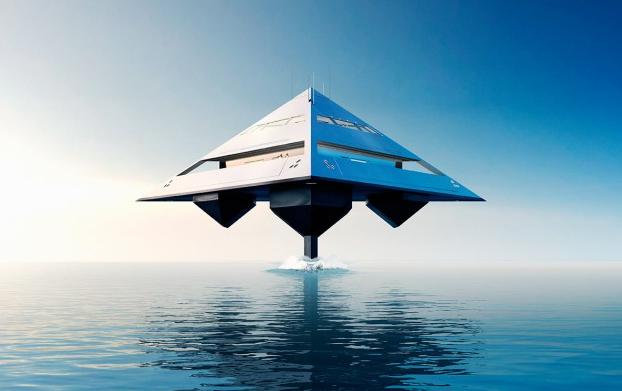Tetrahedron superyacht by Jonathan Schwinge