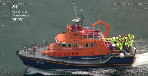 St Mary's Lifeboat with passengers rescued from sinking boat off Scilly