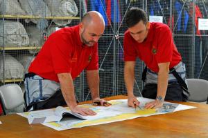 Phil Slade and Mark Belamarich plan their dinghy challenge