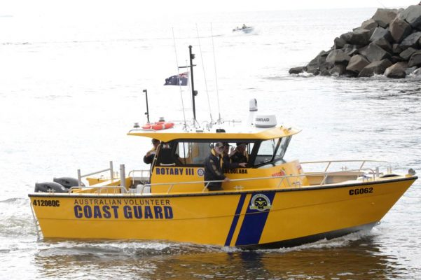 """The latest Coast Guard Mooloolaba QF6 vessel. It was launched without naval tradition. Champaign was poured not smashed against the bow because it was deemed """"environmentally unfriendly"""""""