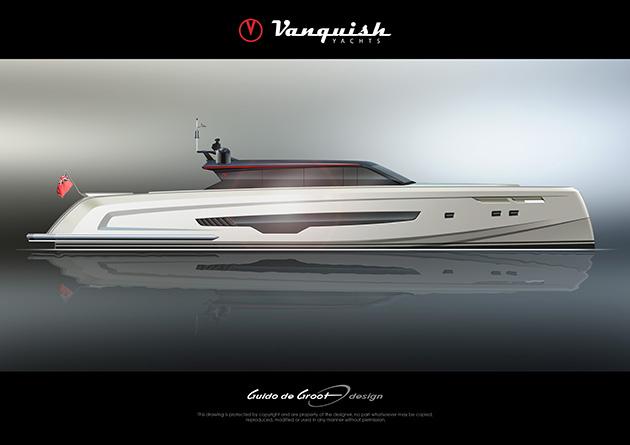 The new Vanquish VQ90 Veloce. Credit Vanquish Yachts