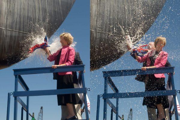 The vessel Bell M. Shimada is christened by Susan E. Lautenbacher