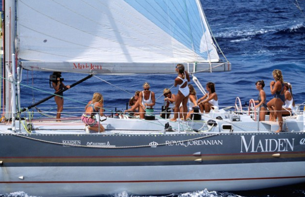 Tracy Edwards and her all female crew on Maiden during the Whitbread