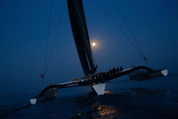 Spindrift 2 arrives in St Malo, setting a new record in the Transat Quebec-St Malo
