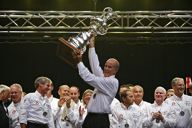Ed Baird with the America's Cup in Geneva, Switzerland, 2007