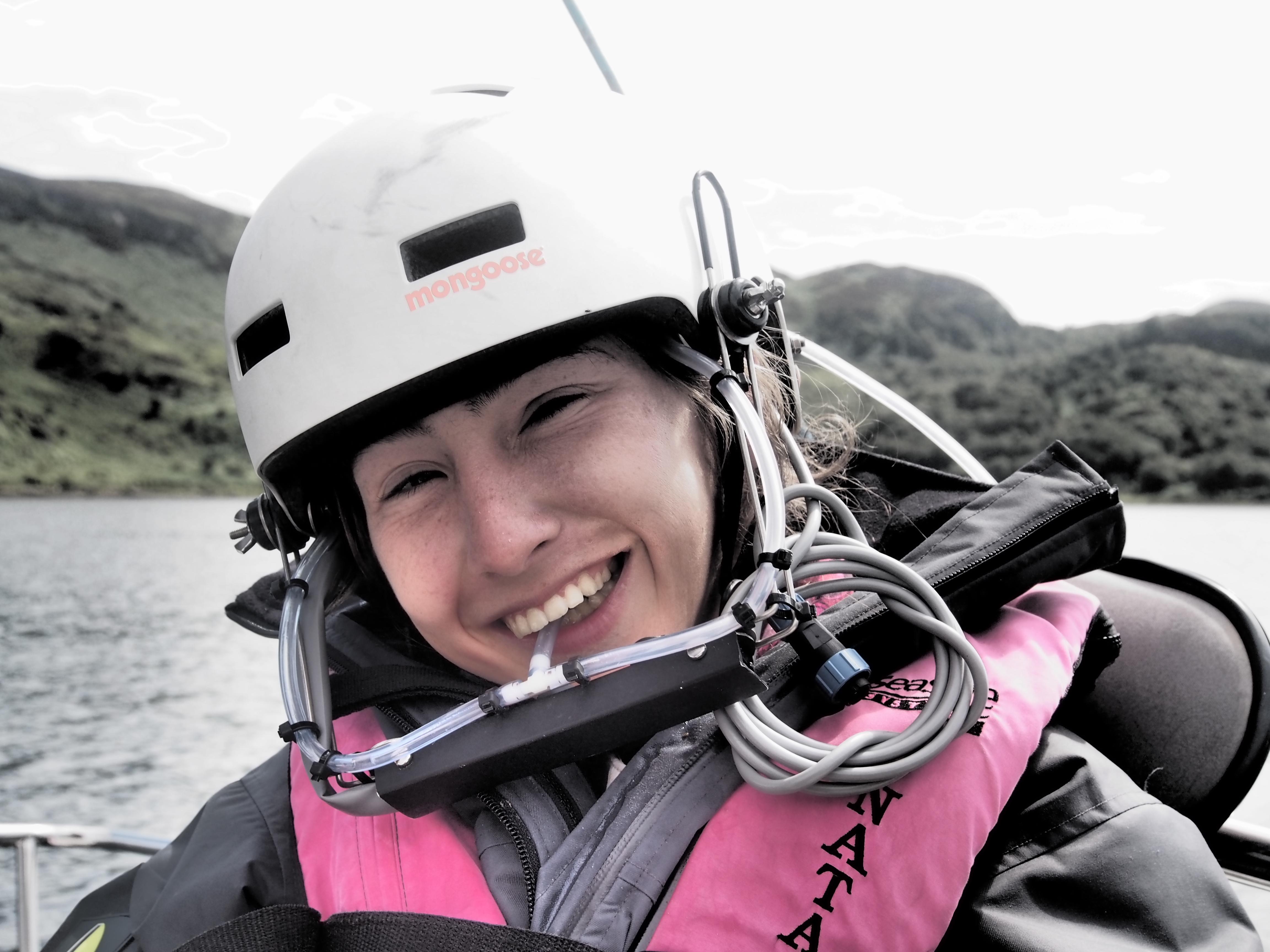 In a white helmet and pink lifejacket Natasha Lambert