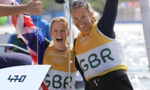 Hannah Mills Saskia Clark celebrate winning gold in Rio 2016 Olympics
