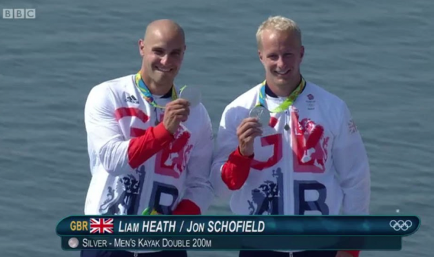 Liam Heath and Jon Schofield take silver in the men's kayak double
