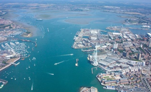 Portsmouth Harbour - the location of the unexploded bomb