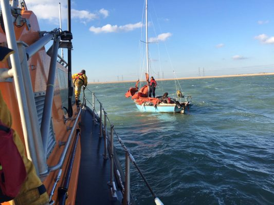 Dungeness RNLI is urging sailors to be properly equipped for the weather conditions after it rescued two people from a yacht which had blown out sails and no fuel.