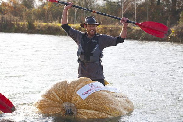 The giant pumpkin at RHS Hyde Hall wins the boat race