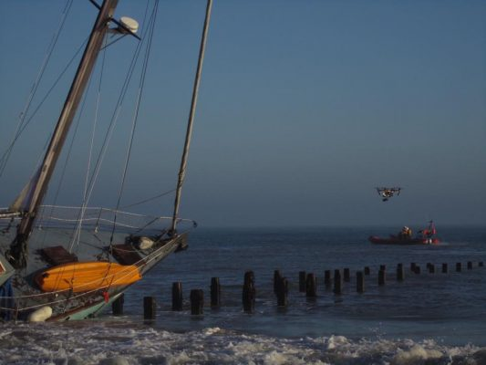 Stricken yacht in Happisburgh, Norfolk
