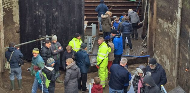 Inside a lock - part of the open days on waterways organised by the Canal and River Trust