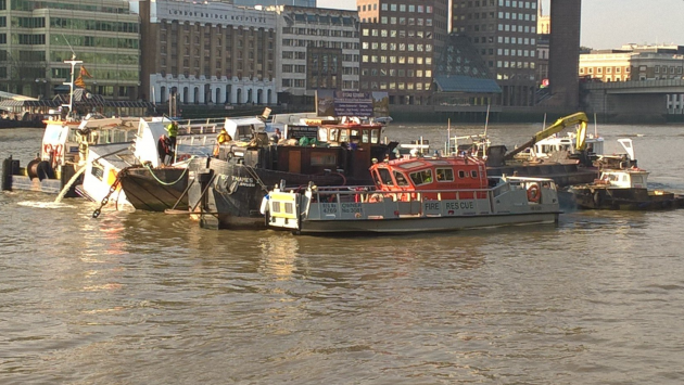 The Wyndham sinking on the River Thames