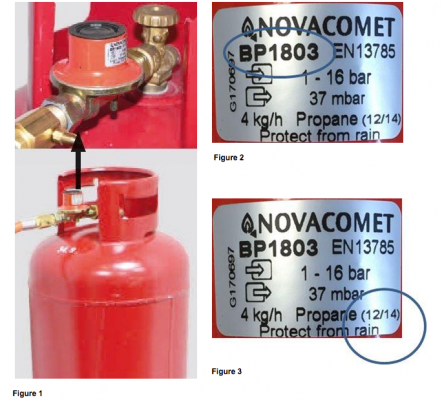 Novacomet branded BP1803 LPG regulators manufactured between June 2006 and September 2015.