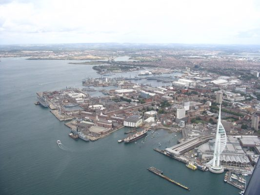 Portsmouth Harbour, where a second WW2 bomb has been found