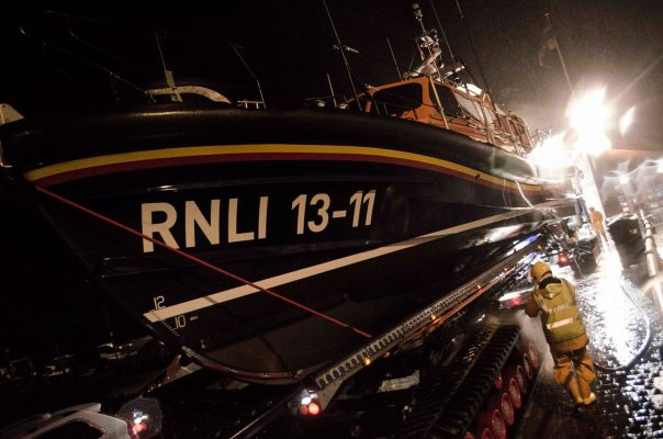 St Ives Lifeboat being launched after flares were spotted off the Cornish coast