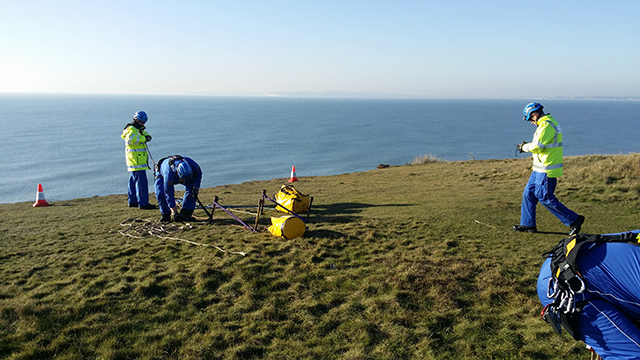 dorset coastguard teams prepare for a cliff rescue