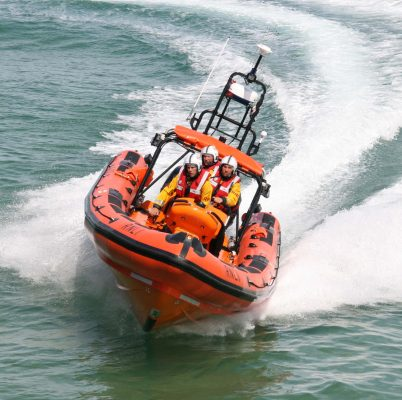 Newquay RNLI, who responded to 3 men clinging to a line of lobster pots