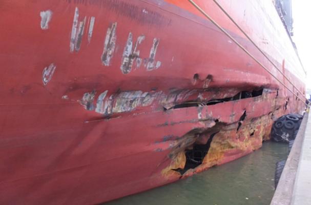 damaged hull of boat