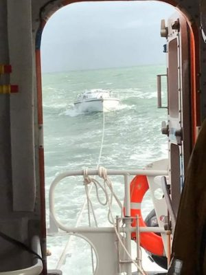 Dismasted yacht after a collision with a container ship is towed into Ramsgate