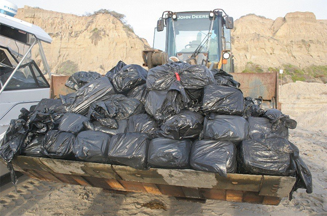 bales of marijuana found on a Bayliner in California