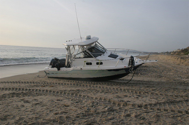 The marijuana was found on board the abandoned Bayliner