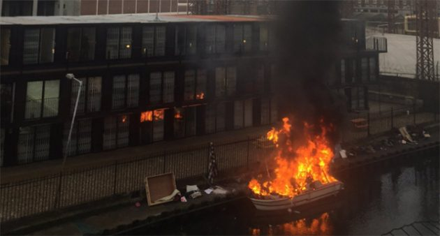 River cruiser on fire on the Regent's Canal