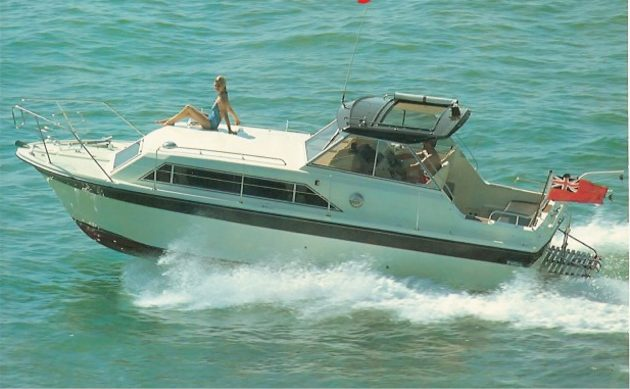 Motor yacht speeds along