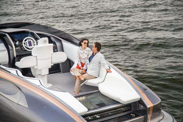 Couple on a motor yacht