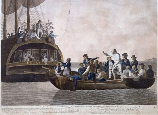 A painting of mutiny on HMS Bounty