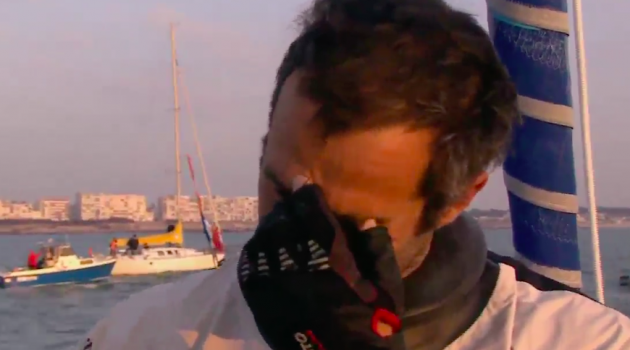 Armel Le Cleac'h cries after winning the Vendee Globe