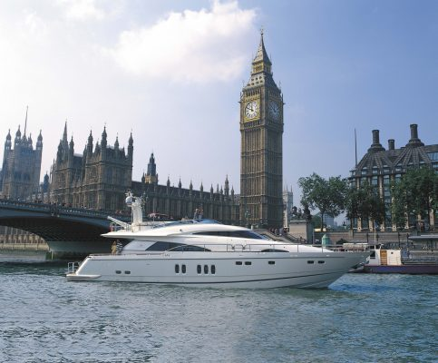 Fairline yacht outside the Houses of Parliament
