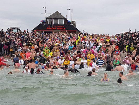 People swim in the sea