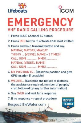 safety cards for boaters and VHF