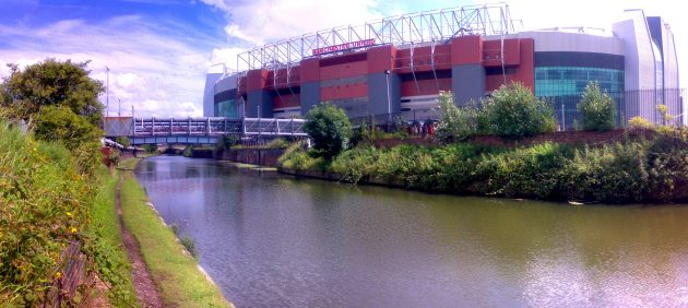 A section of the Bridgewater Canal by Old Trafford