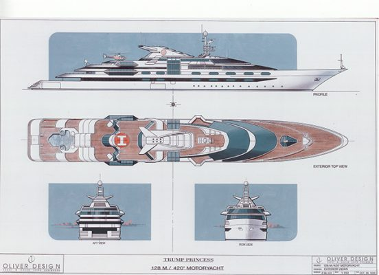 Renders of the outside of Trump Princess - the yacht designed for Donald Trump