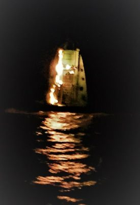The crew of the Sheerness RNLI respond to callout in Thames Estuary where a light buoy was on fire