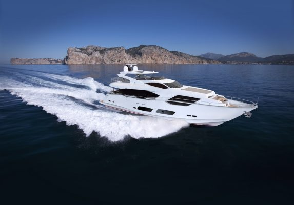 One of the boats on display at the Sunseeker Pre-Season Boat Show