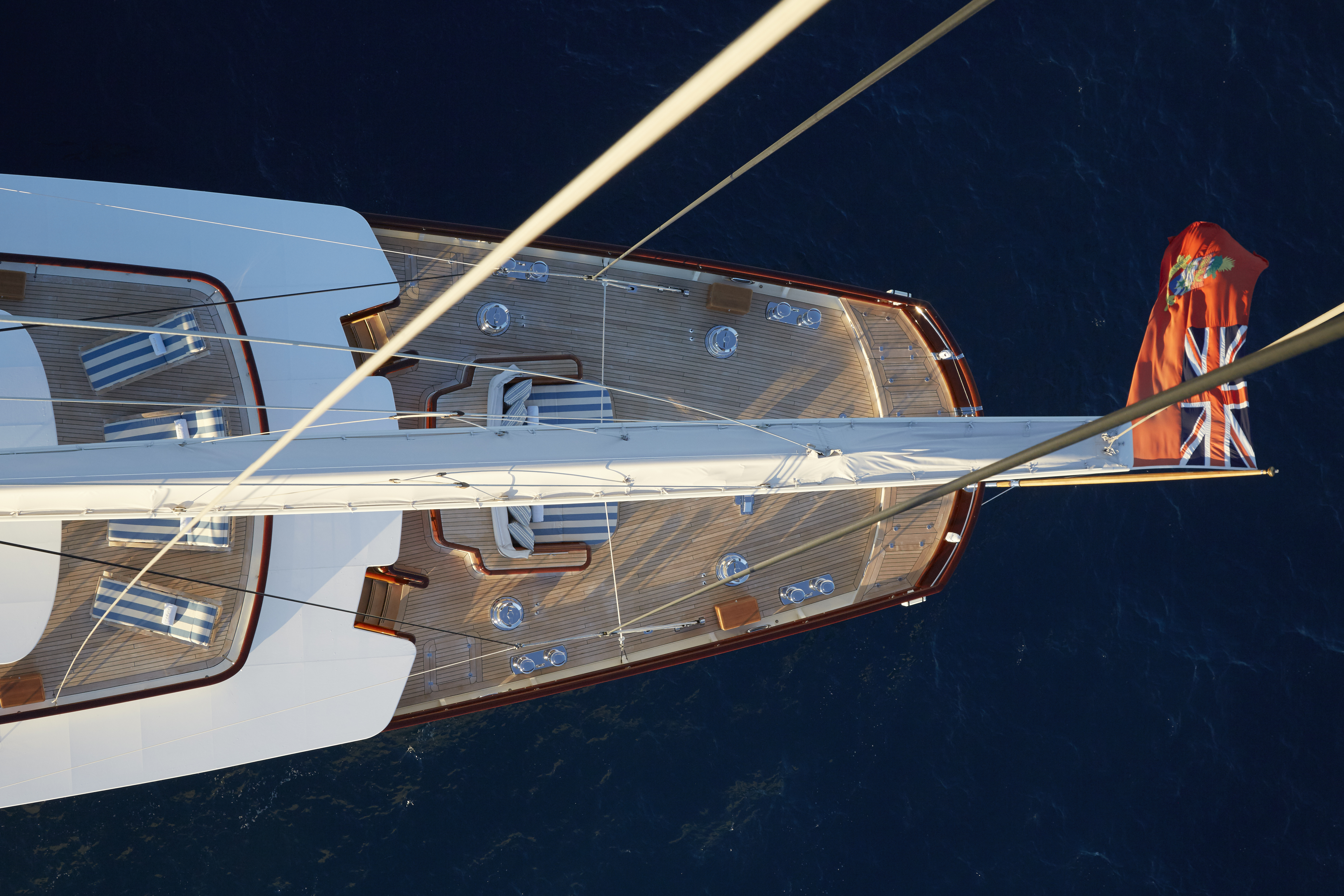 A view of the sailing yacht Athena from the crow's nest