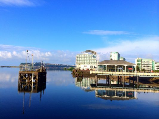 Still water during the morning at Cardiff Bay in Wales