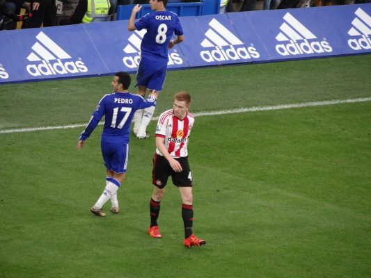 Sunderland football player Duncan Watmore on the pitch