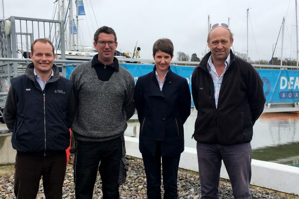 Representatives from Deacons Boatyard and Dean & Reddyhoff following the sale of Decons to the south coast marina operators