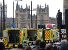 Ambulance wait for the wounded during Westminster attack