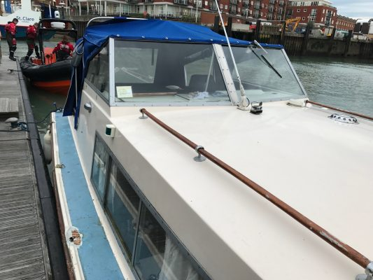 A motor yacht after the skipper fell overboard at Clarence Pier