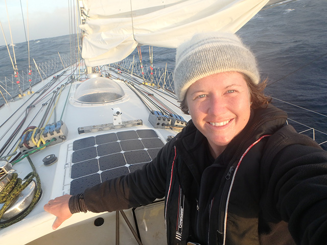 Lady skipper Lisa Blair during her world record attempt in Antarctica