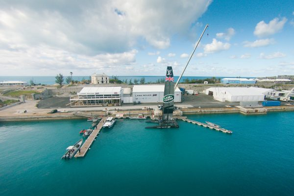 A pontoon built by MDL Marinas for Land Rover BAR's America's Cup base in Bermuda