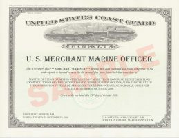 A sample of a Merchant Marine licence issued in America