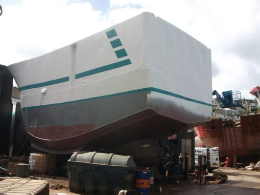 Fishing boat being built in Cornwall