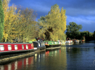 Narrowboats moored on a canal with a dark sky in the background